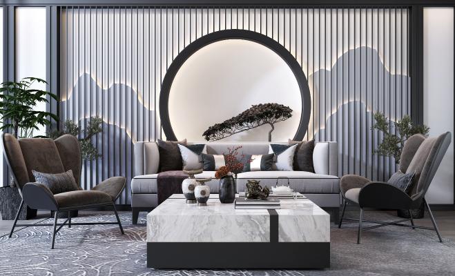 新中式沙发茶几组合 单人沙发 盆栽