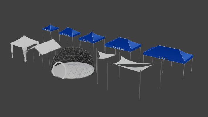 现代室外帐篷遮阳棚