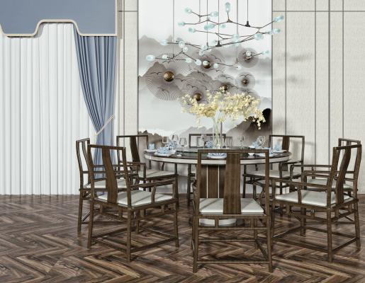 新中式圆形餐桌椅 多人餐桌 吊灯