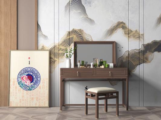 新中式风格梳妆台 妆椅