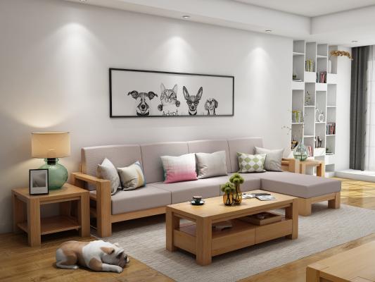 日式组合沙发 三人转角沙发