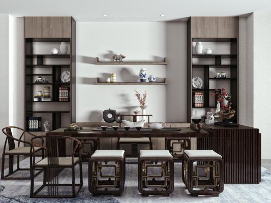 新中式茶室 茶桌椅组合 茶桌