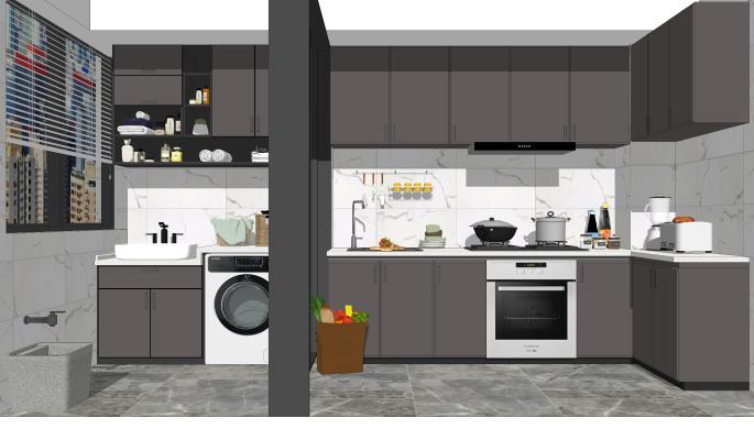 现代厨房 橱柜 吊柜 阳台 洗衣机 拖把池