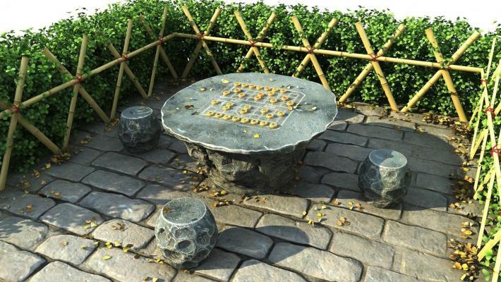中式石桌棋台