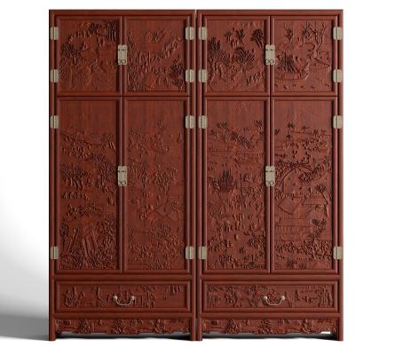 中式古典明清衣柜 仿古浮雕花红木衣柜 拉手