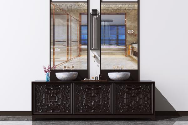 新中式卫浴柜 洗脸池 洗手台