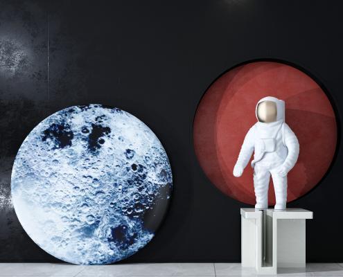 现代宇航员人物摆件 墙画组合