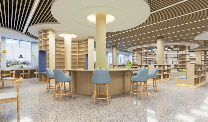 现代图书馆 书吧 吊灯 书架