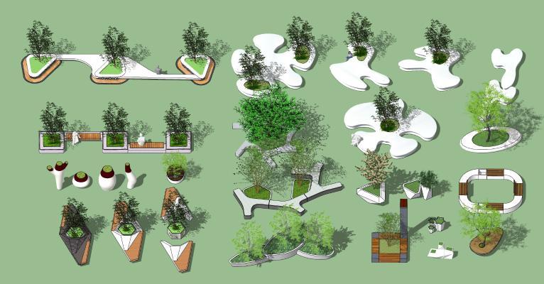 现代公园景观 户外花坛 树池 异形花池