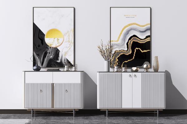 现代轻奢装饰柜组合 矮柜 装饰挂画