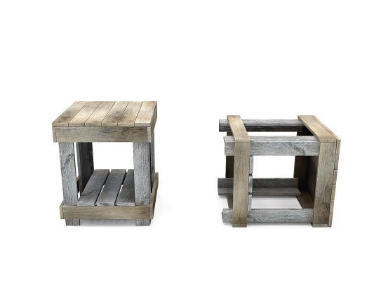现代木箱子,木凳子