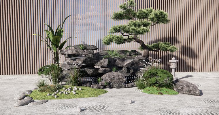 新中式假山水景 禅意庭院景观 景观小品