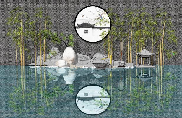 新中式景观小品 假山水景 景观墙