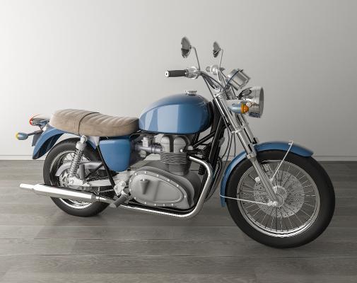 现代复古摩托车 摩托车 双缸