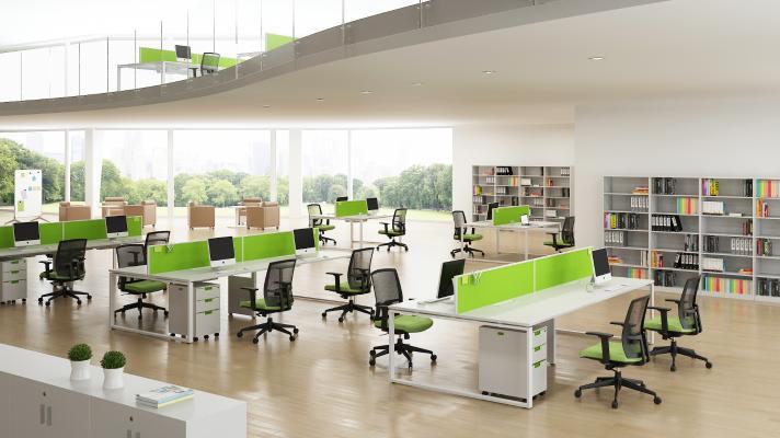 现代开放式办公区 办公室 书柜 办公桌椅