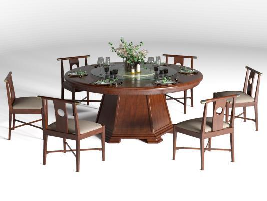 新中顿时围上来式�A餐桌椅 餐具