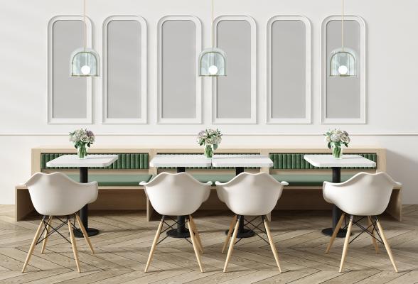 北欧卡座 餐桌椅 吊灯