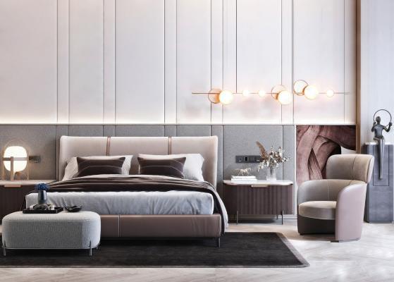 現代輕奢雙人床 床頭柜組合