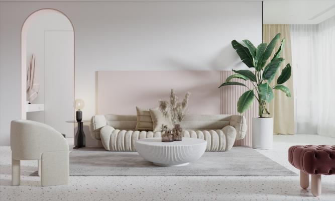 北欧客厅 沙发茶几组合 单椅 弧形沙发
