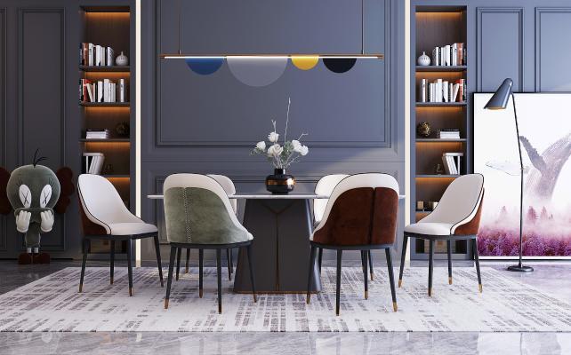 现代餐桌椅组合 装饰画 配饰