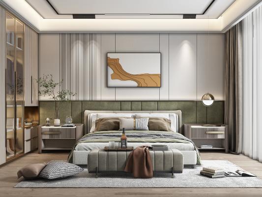 现代家居卧室 背景墙 双人床