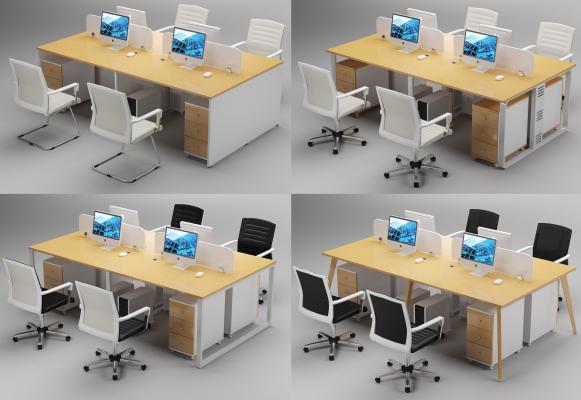 现代办公家具办公桌椅员工位职工位一字组合桌