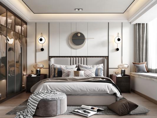 现代卧室 床组合 床头柜 衣柜 壁灯 台灯 床尾凳 装饰品
