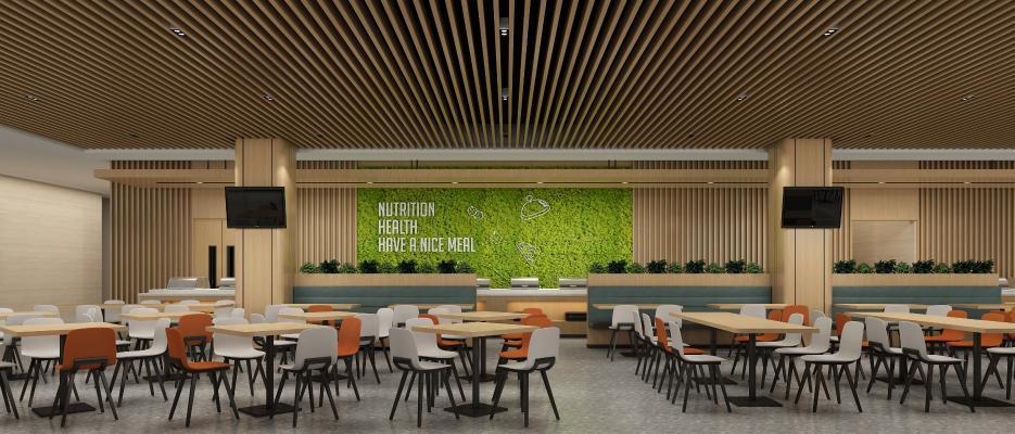 现代食堂 餐桌椅 绿植