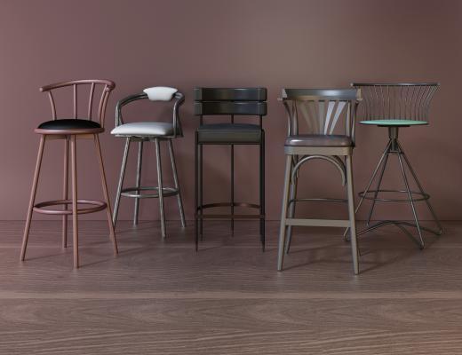 美式吧椅组合 金属铁艺吧椅