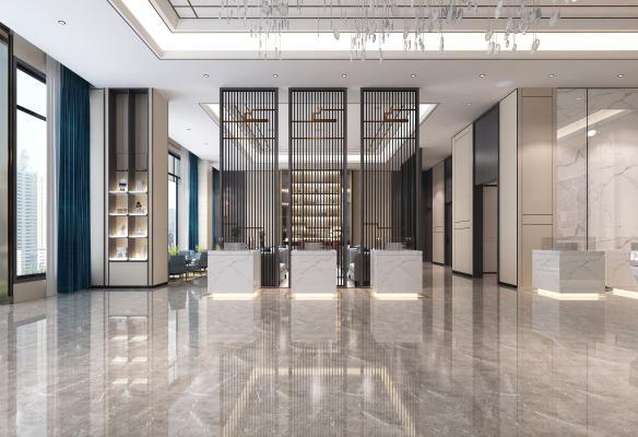 新中式风格售楼部 休息区 隔断