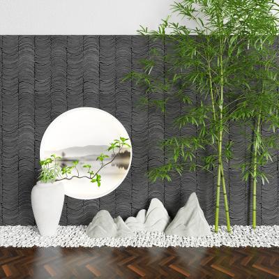 新中式碎石 枯山水 柱子