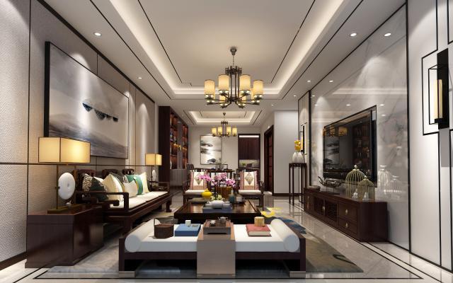 新中式客餐厅 沙发组合 吊灯 壁灯
