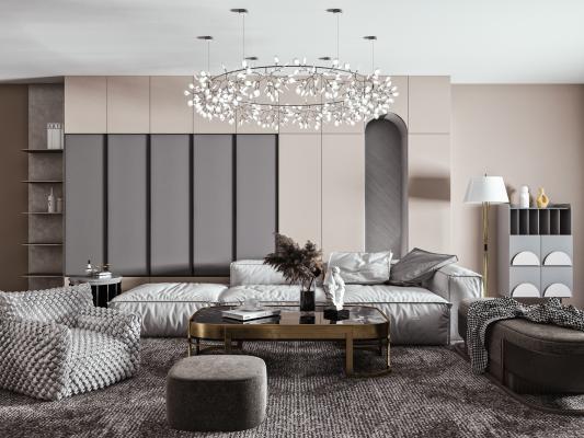 現代沙發茶幾吊燈組合 布藝沙發 單人沙發