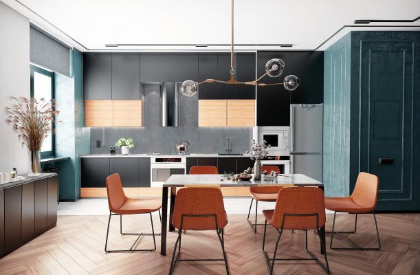 后現代簡歐餐廳廚房