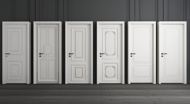 简欧白色房间单开实木门组合