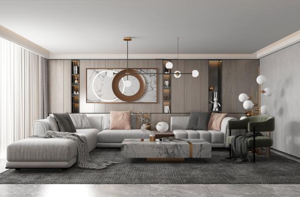 现代客厅 吊灯 装饰柜
