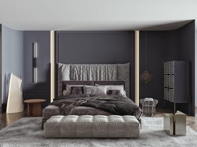 現代双人床 床头柜