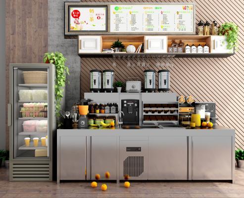 现代咖啡奶茶饮品店 工作台