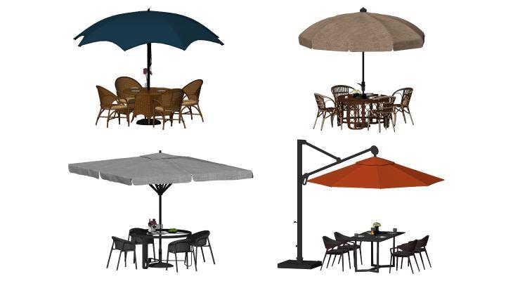 现代遮阳伞 藤椅
