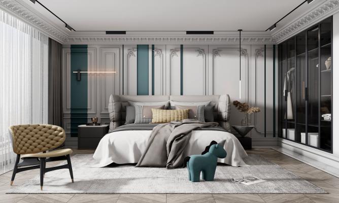 欧式简约卧室 双人床床头柜组合 单人沙发