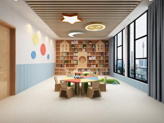 现代幼儿园教室 吸顶灯 书柜