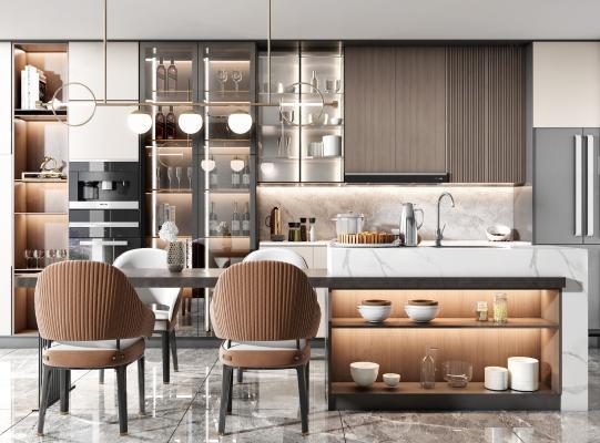 现代开放厨房 吧台 岛台