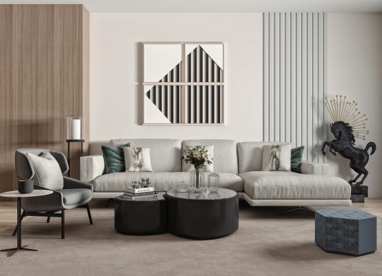 现代转角布艺沙发 休闲椅 单人沙发