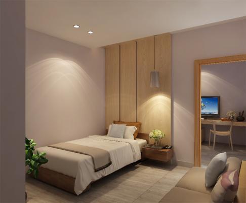 现代简约单人床 吊灯 植物花艺组合
