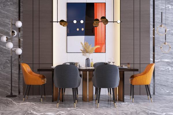 现代轻奢餐桌椅组合 落地灯 吊灯