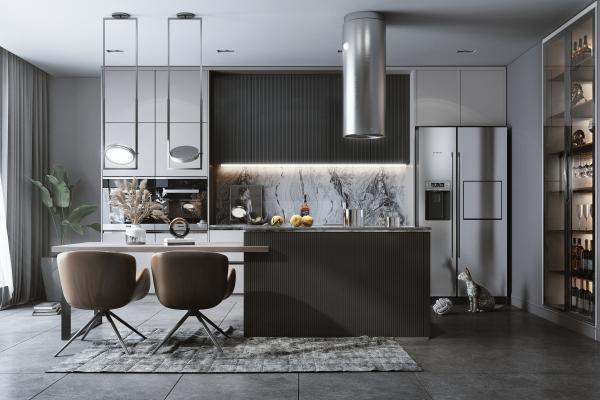 现代风格开放式厨房 岛台 椅子