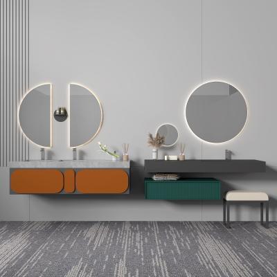 现代浴室柜 圆形镜子