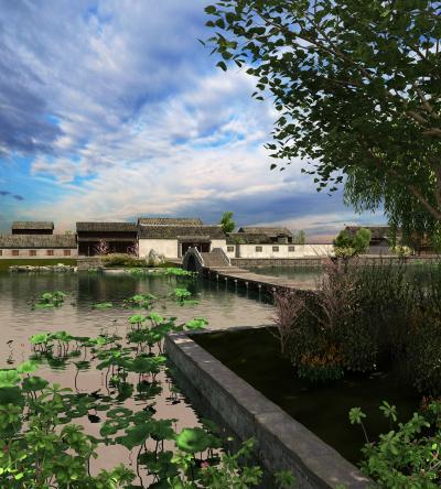 中式园林景观 景区 湿地