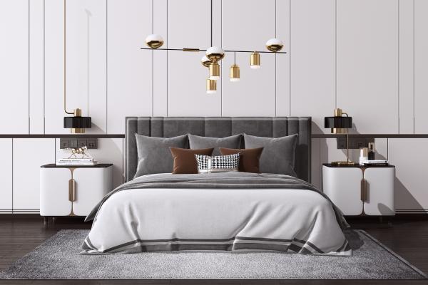 后现代双人床组合 床头柜 台灯