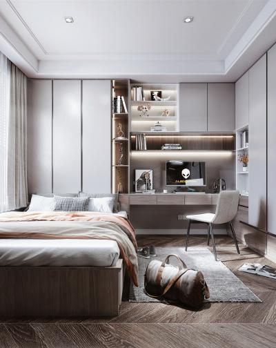 现代风格榻榻米卧室 床 书桌